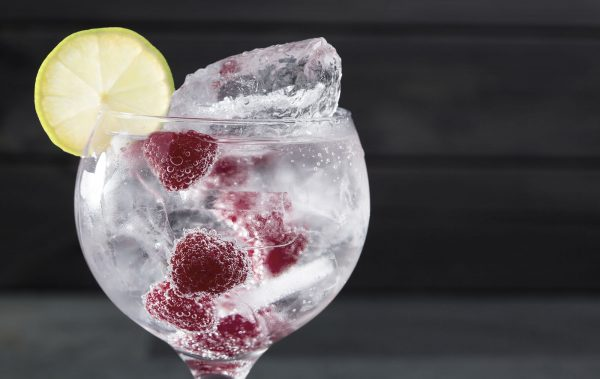 raspberries gin ice lemon